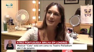 Madalena Alberto on Portuguese SIC TV news talking about CATS at the London Palladium