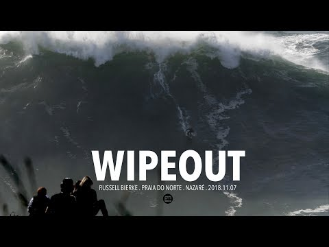 Wipeout . Russell Bierke . Raw Footage @ Nazaré, Portugal - 2018.11.07 [Surf, Big Waves, 4K]