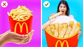 EATING ONLY GIANT FOOD CHALLENGE || Cool Hacks With Your Favorite Food by 123 GO! GOLD