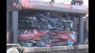 Eight sports cars crushed and 2 people arrested for organising underground race meets.