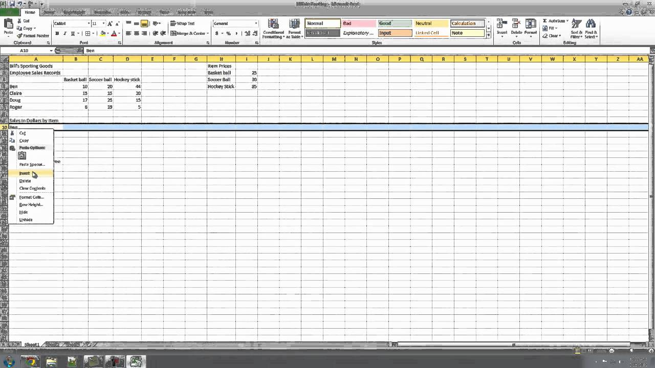 how to use excel tutorial 4 sales tracking part one youtube