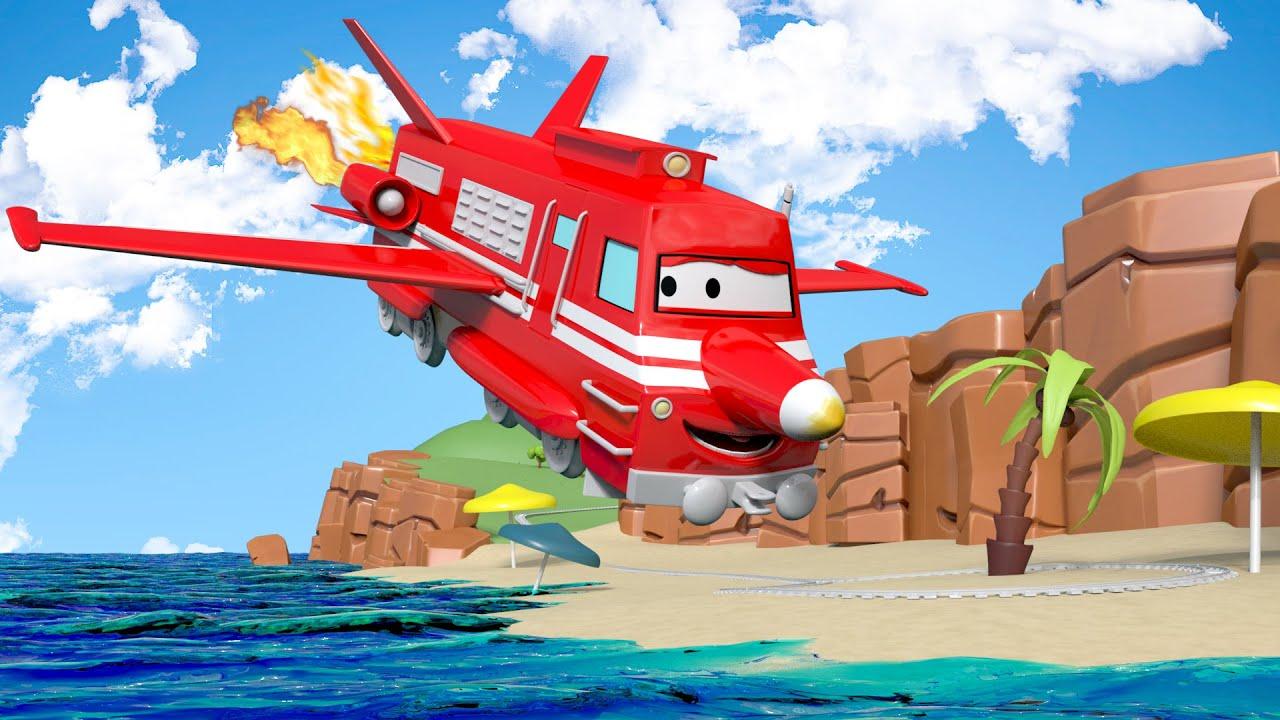 Troy il treno troy diventa un jet car city 🚗 cartone animato
