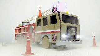 How to make a fire truck from Cardboard at home