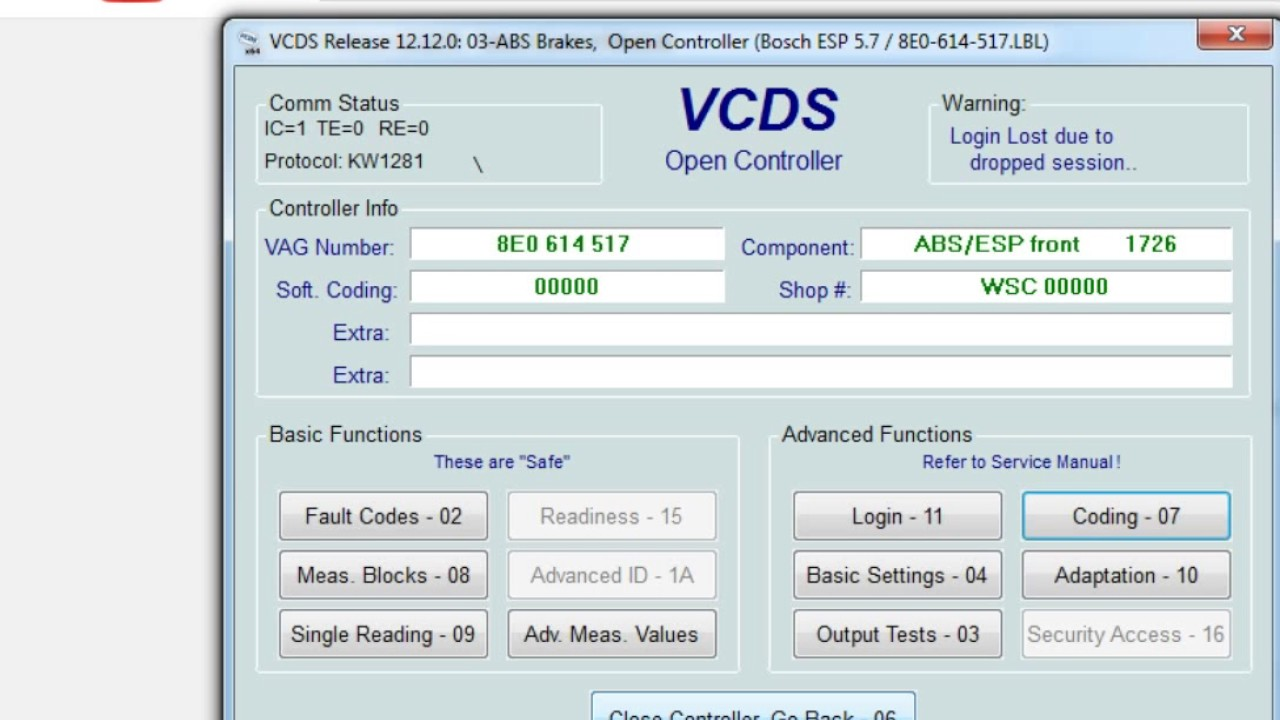 Abs Login Problem - Vcds Youtube coding