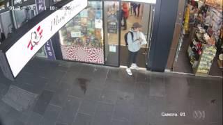 CCTV footage shows pedestrians dodging James