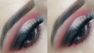 Smokey glittery eye makeup tutorial |red and black eye makeup