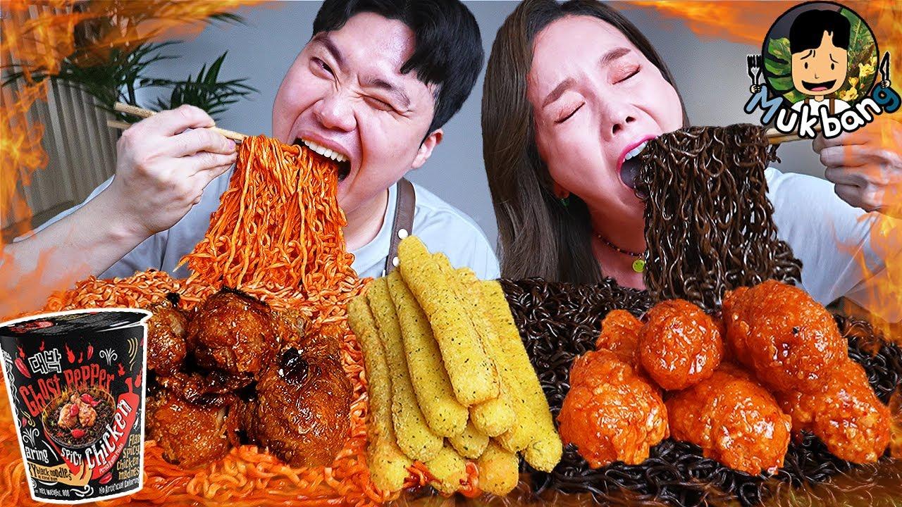 Download ASMR MUKBANG 불닭볶음면 & 치즈 스틱 & 양념 치킨먹방! FIRE Noodle & FRIED CHICKEN & CHEESE STICK EATING SOUND!