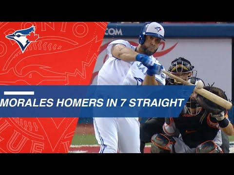 Morales homers in Blue Jays' record 7 straight games