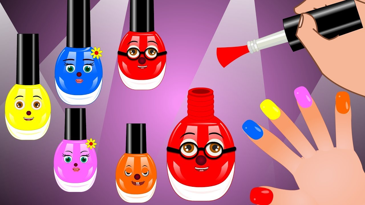 Learn 3d Colors with HAND FINGER FAMILY and nail polish arts. Colours finger family  for children.