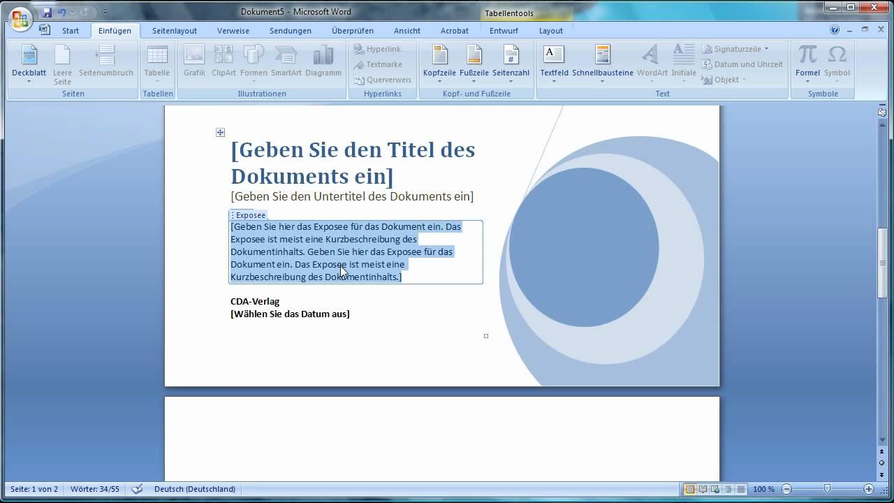 Word 2007 Deckblatt Einfügen Youtube