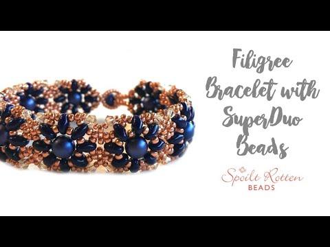 Filigree Bracelet With SuperDuo Beads - Beading Tutorial