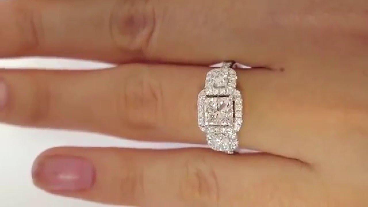 Gia 208ct Estate Vintage Square Princess Diamond Three Stone Engagement  Ring With Pave Halo