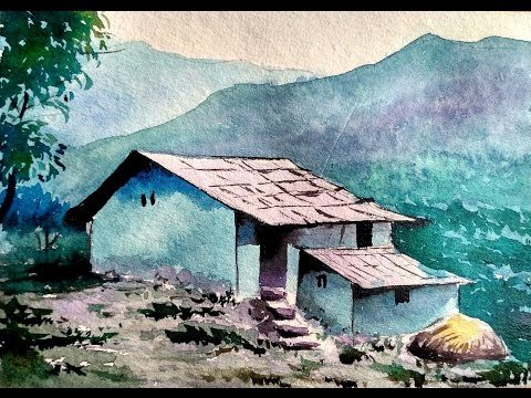 House Landscape in Watercolor | Paint with david |