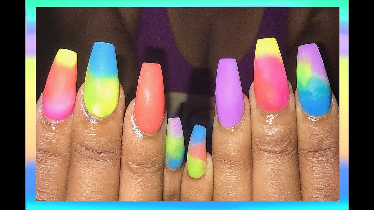 Matte Summer Colors Acrylic Nails Design
