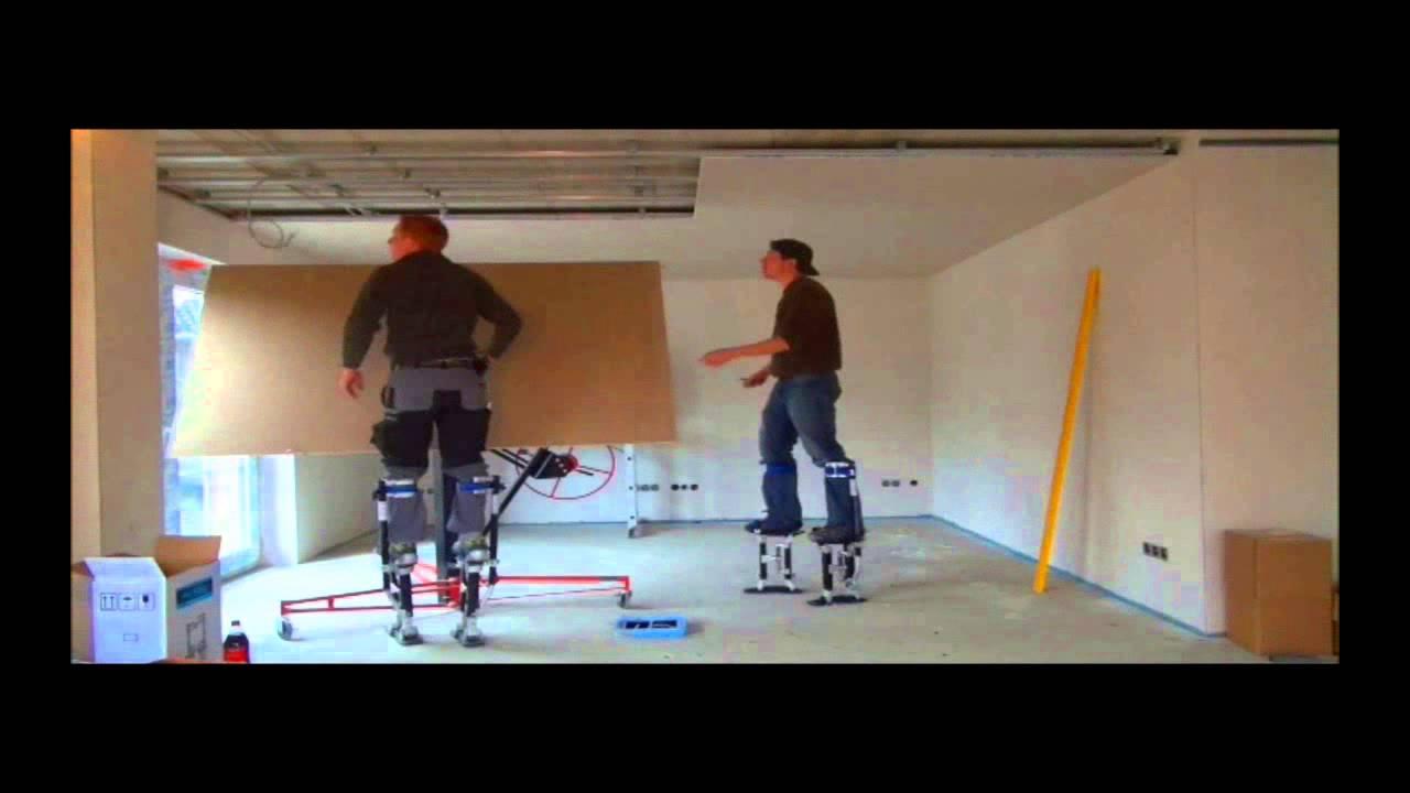 trockenbau mit h bau arbeitsstelzen youtube. Black Bedroom Furniture Sets. Home Design Ideas