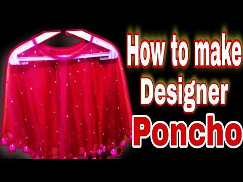 Bollywood fashion.Indian style poncho cutting & stitching.Designer(poncho) cape