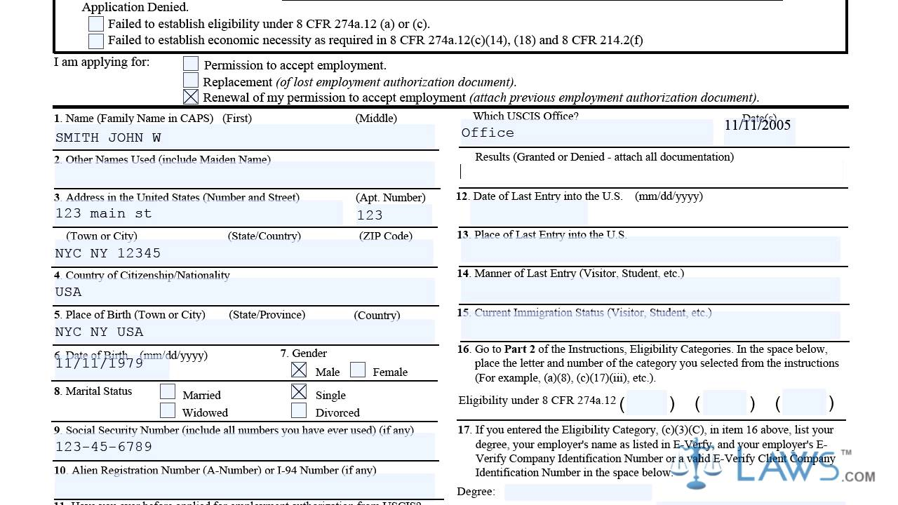 i765 Form YouTube – I-765 Worksheet Sample