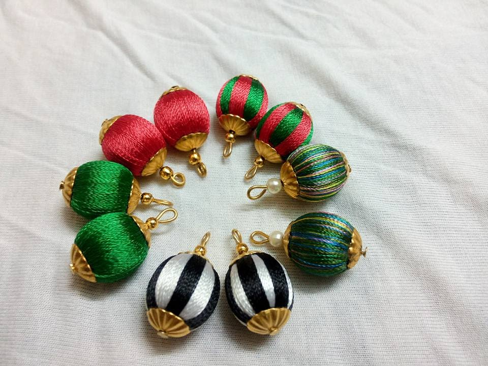 How To Wrap Plastic Bead using Silk thread to make earring and ...