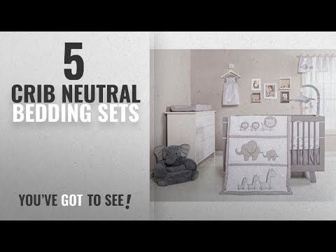Top 10 Crib Neutral Bedding Sets [2018]: 3 Piece Baby Crib Bedding Set Unisex Neutral, Cute Safari
