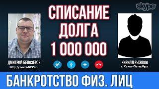 Банкротство физических лиц в городе Санкт Петербург  Списание долга по банкротству в 1 000 000 рубле