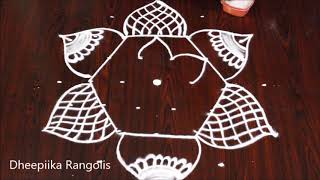 Latest rangoli designs with 7x4 dots for beginners l best rangoli deigns l Easy rangoli designs