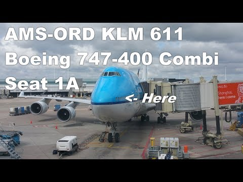 Seat 1A Boeing 747-400 - A KLM Business Class experience - KL 611 AMS-ORD - 1/2 thumbnail