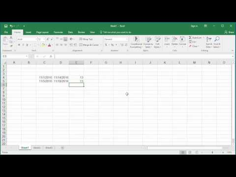 How To Calculate Number Of Days Between Two Dates In Excel 2016