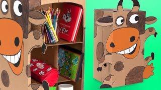DIY Cardboard Desk Organizer - Cow Shelf | Craft Ideas & Projects for Kids