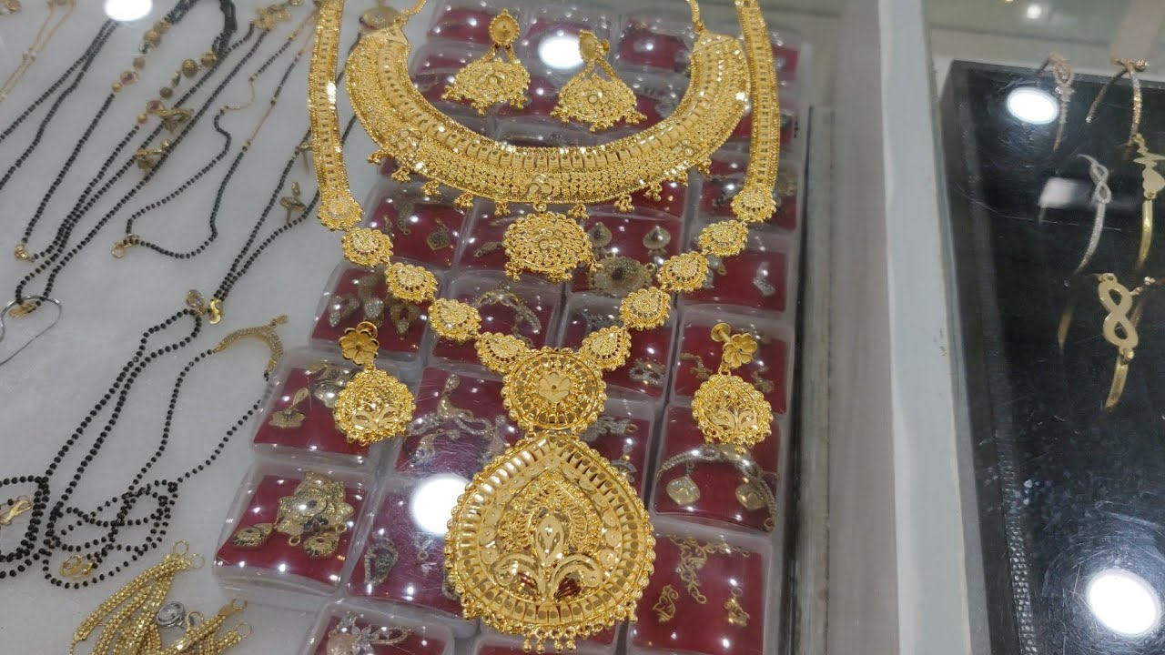 Plain Handwork Gold Covering Long Haram with Choker Jewellery Set,The Jewellary Place,📲 8140960260