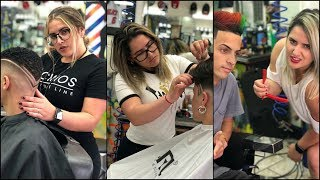 Hair styling by  best and beautiful female barbers using Pacinos hair products/pacinos hair grooming
