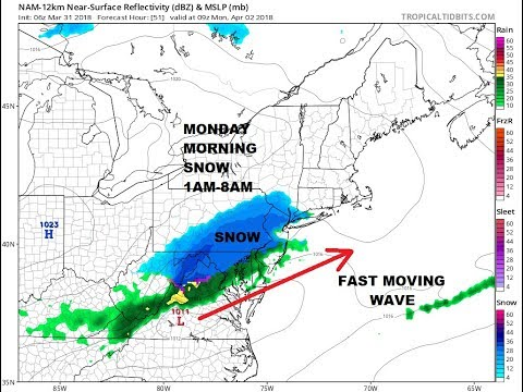 AFTER EASTER SNOW LIKELY SUNDAY NIGHT MONDAY MORNING NORTHERN MID ATLANTIC COASTAL NORTHEAST