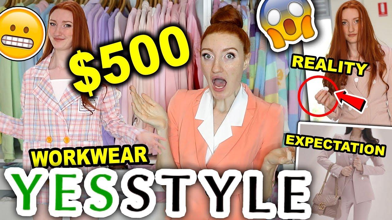 YESSTYLE TRY ON HAUL  $8 YESSTYLE WORKWEAR HAUL 8 (corporate clothing  but make it pastel)