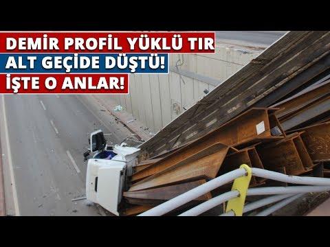Konya'da Demir Profil Yüklü Tır Alt Geçide Düştü! İşte O Anılar
