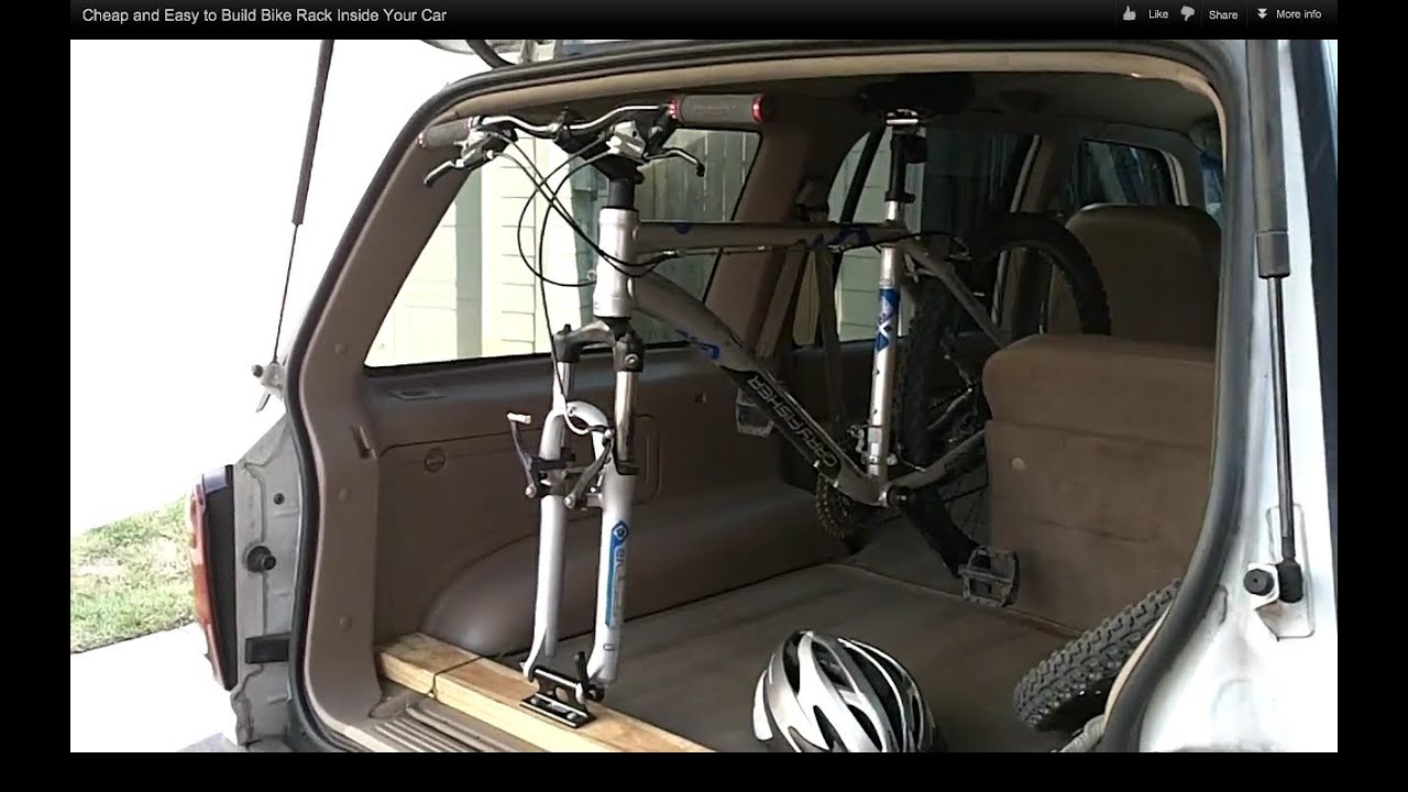 Cheap and easy to build bike rack inside your car youtube Nissan xterra bike rack interior