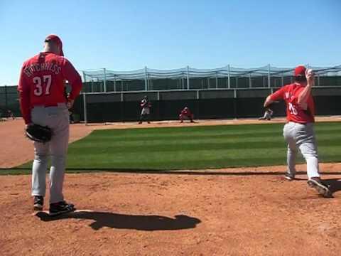 Cincinnati Reds Minor League Pitchers throw in the bullpen
