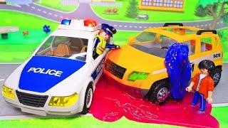 Мультики про машинки с игрушками Плеймобил. Добрый поступок - помощь на дороге. Видео для детей.