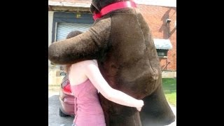 enormous standing realistic big plush brown bear 5 feet tall made in the usa america