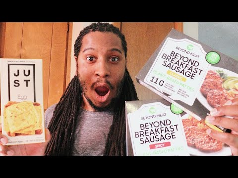 NEW BEYOND MEAT VEGAN BREAKFAST SAUSAGE + JUST EGG FOLDED PLANT EGG OMELETTE | Taste Test & Review