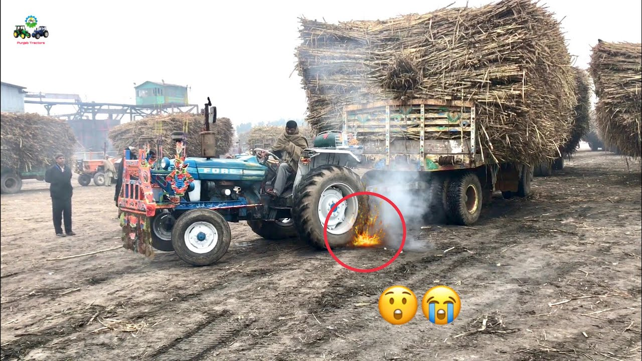 Ford Tractor 🔥🔥 Burn His Tyre But Fail To Pull Sugarcane load Trailer