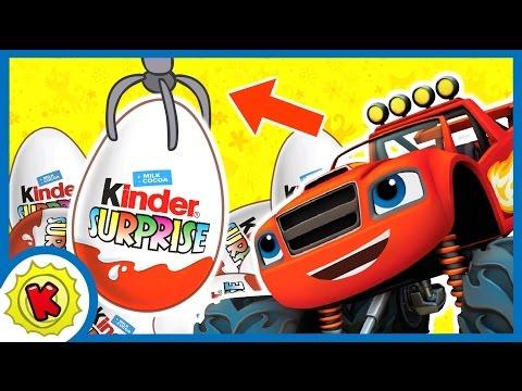 Достаем киндер сюрпризы. Машинки ВСПЫШ. Игровой автомат. Kinder Surprise. Blaze
