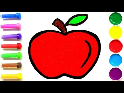 Apple Sand Painting and Drawing for Kids , Toddlers | Learning Colors