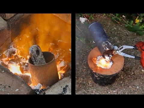 Simple aluminium melting foundry using gas or charcoal including lost foam casting demonstration