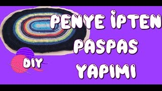 Penye ipten paspas yapımı, Crochet T Shirt Yarn Rug, DIY,How to crochet a flat circle