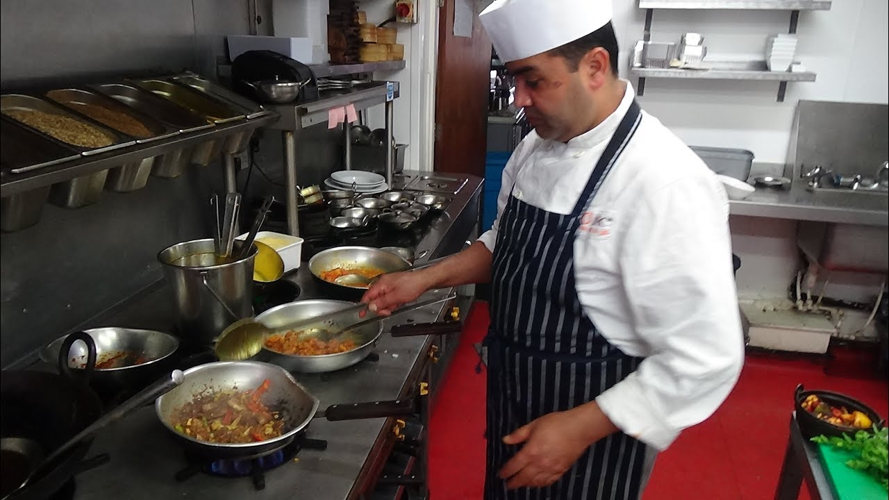 Kitchen Chief Lighting Melbourne Busy Chef At Work Action Inside An Indian Restaurant Bradford Zouk Tea Bar Grill U K