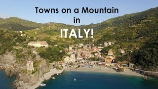 Hiking Through Cinque Terre, Italy with a drone - towns built on the side of a mountain