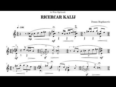 Dušan Bogdanovic - Ricercar Kalij for Guitar (Score video)