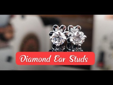 Diamond ear studs under us $ 2000 gh si certified set in 18kt white gold