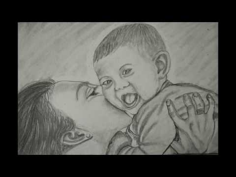pencil-art-of-mother-and-baby