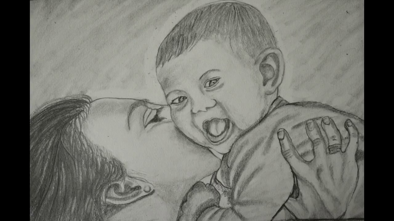 Pencil art of mother and baby