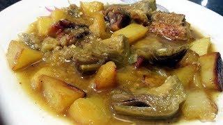 Cómo hacer guisado de pollo con patatas y alcachofas, al estilo de Mariaje